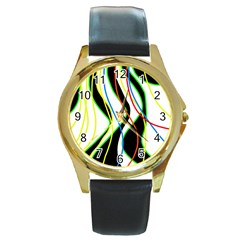 Colorful lines - abstract art Round Gold Metal Watch