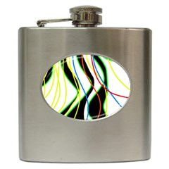 Colorful lines - abstract art Hip Flask (6 oz)