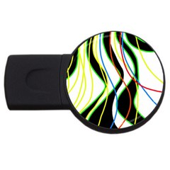 Colorful lines - abstract art USB Flash Drive Round (1 GB)