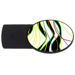 Colorful lines - abstract art USB Flash Drive Oval (2 GB)