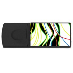 Colorful lines - abstract art USB Flash Drive Rectangular (2 GB)