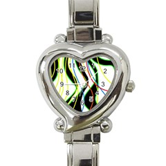 Colorful lines - abstract art Heart Italian Charm Watch