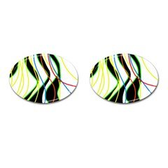 Colorful lines - abstract art Cufflinks (Oval)