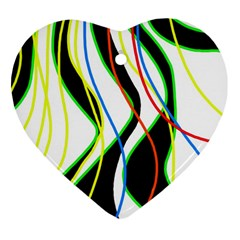 Colorful lines - abstract art Heart Ornament (2 Sides)