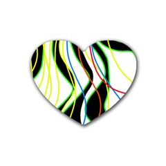 Colorful lines - abstract art Heart Coaster (4 pack)