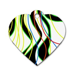 Colorful lines - abstract art Dog Tag Heart (One Side)