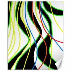 Colorful lines - abstract art Canvas 11  x 14
