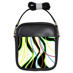 Colorful lines - abstract art Girls Sling Bags
