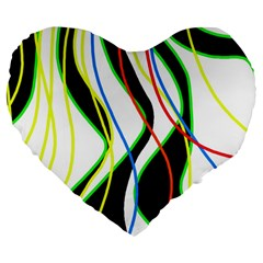 Colorful lines - abstract art Large 19  Premium Heart Shape Cushions