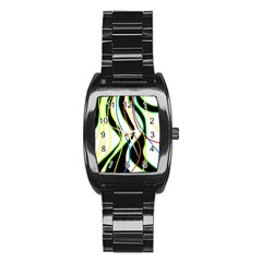Colorful lines - abstract art Stainless Steel Barrel Watch