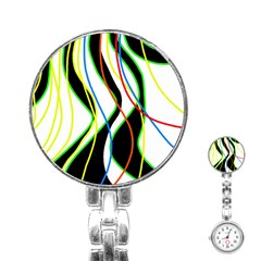 Colorful lines - abstract art Stainless Steel Nurses Watch