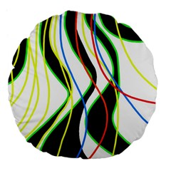 Colorful lines - abstract art Large 18  Premium Flano Round Cushions