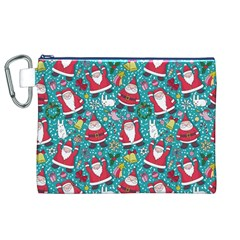 Cute Christmas Seamless Pattern Vector Canvas Cosmetic Bag (XL)
