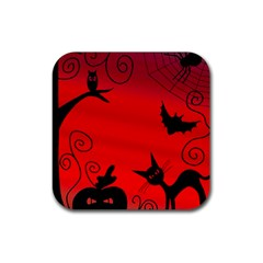 Halloween landscape Rubber Square Coaster (4 pack)