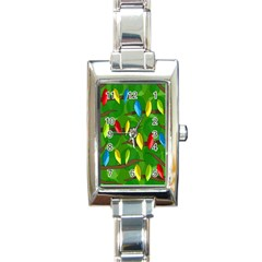 Parrots Flock Rectangle Italian Charm Watch