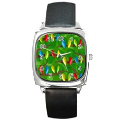 Parrots Flock Square Metal Watch