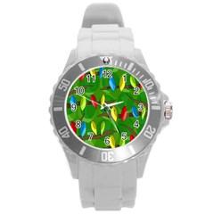 Parrots Flock Round Plastic Sport Watch (L)