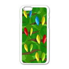 Parrots Flock Apple iPhone 6/6S White Enamel Case