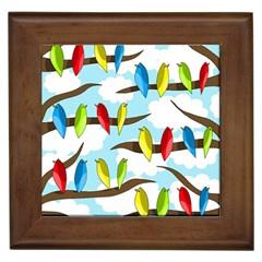 Parrots flock Framed Tiles
