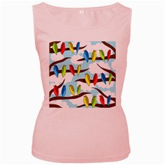 Parrots flock Women s Pink Tank Top