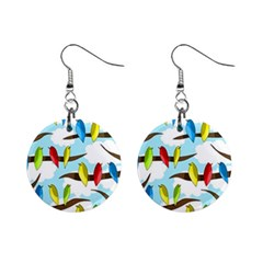 Parrots flock Mini Button Earrings