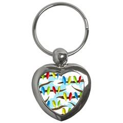Parrots flock Key Chains (Heart)