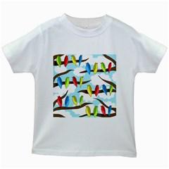 Parrots flock Kids White T-Shirts