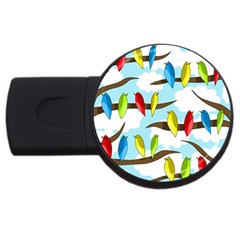 Parrots flock USB Flash Drive Round (4 GB)