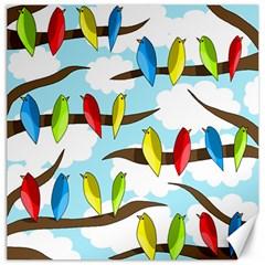 Parrots flock Canvas 12  x 12