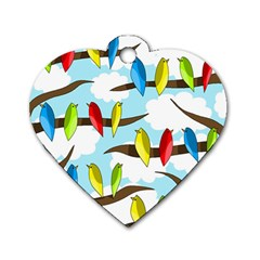 Parrots flock Dog Tag Heart (One Side)