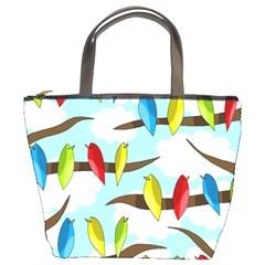 Parrots flock Bucket Bags