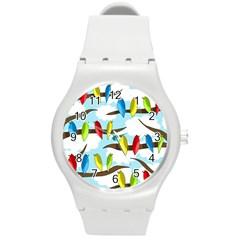 Parrots flock Round Plastic Sport Watch (M)
