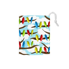 Parrots flock Drawstring Pouches (Small)