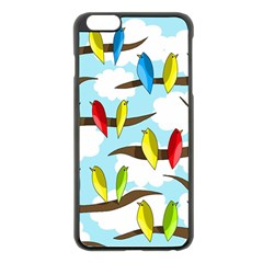 Parrots flock Apple iPhone 6 Plus/6S Plus Black Enamel Case
