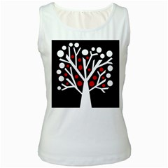 Simply decorative tree Women s White Tank Top