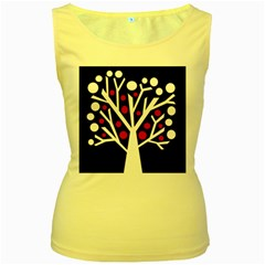 Simply decorative tree Women s Yellow Tank Top