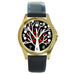 Simply decorative tree Round Gold Metal Watch