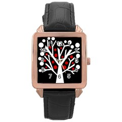 Simply decorative tree Rose Gold Leather Watch
