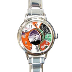 Abstract Orb In Orange, Purple, Green, And Black Round Italian Charm Watch