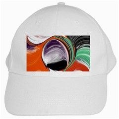 Abstract Orb In Orange, Purple, Green, And Black White Cap