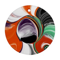 Abstract Orb in Orange, Purple, Green, and Black Ornament (Round)