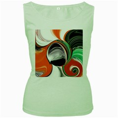 Abstract Orb in Orange, Purple, Green, and Black Women s Green Tank Top
