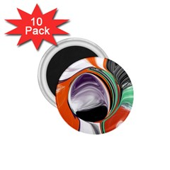 Abstract Orb In Orange, Purple, Green, And Black 1 75  Magnets (10 Pack)