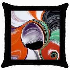 Abstract Orb in Orange, Purple, Green, and Black Throw Pillow Case (Black)