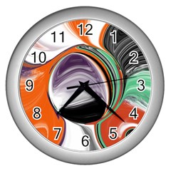 Abstract Orb In Orange, Purple, Green, And Black Wall Clocks (silver)