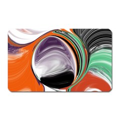 Abstract Orb in Orange, Purple, Green, and Black Magnet (Rectangular)