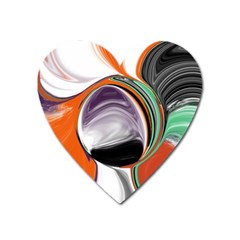 Abstract Orb In Orange, Purple, Green, And Black Heart Magnet