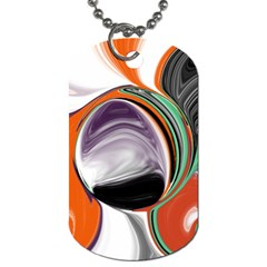 Abstract Orb in Orange, Purple, Green, and Black Dog Tag (Two Sides)