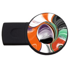 Abstract Orb in Orange, Purple, Green, and Black USB Flash Drive Round (2 GB)