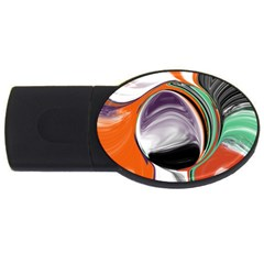 Abstract Orb in Orange, Purple, Green, and Black USB Flash Drive Oval (2 GB)